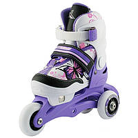 Детские роликовые коньки регулируемые 2в1 NJ9128 NILS 26-29 фиолетовые, фото 1