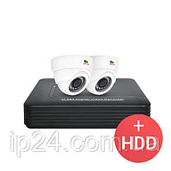 2.0 MP Набір для приміщень AHD-13 2xCAM + 1xDVR + HDD