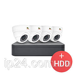 1.0 MP Набір для приміщень AHD-44 4xCAM + 1xDVR + HDD