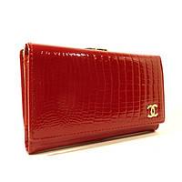 Женский кожаный кошелек Chanel  9011 красный лаковый, расцветки в наличии