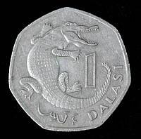 Монета Гамбии 1 даласи 1998 г. Крокодил