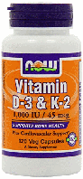 Vitamin D-3 и K-2, Now Foods, Vitamin D-3 & K-2, 120 Veggie Caps