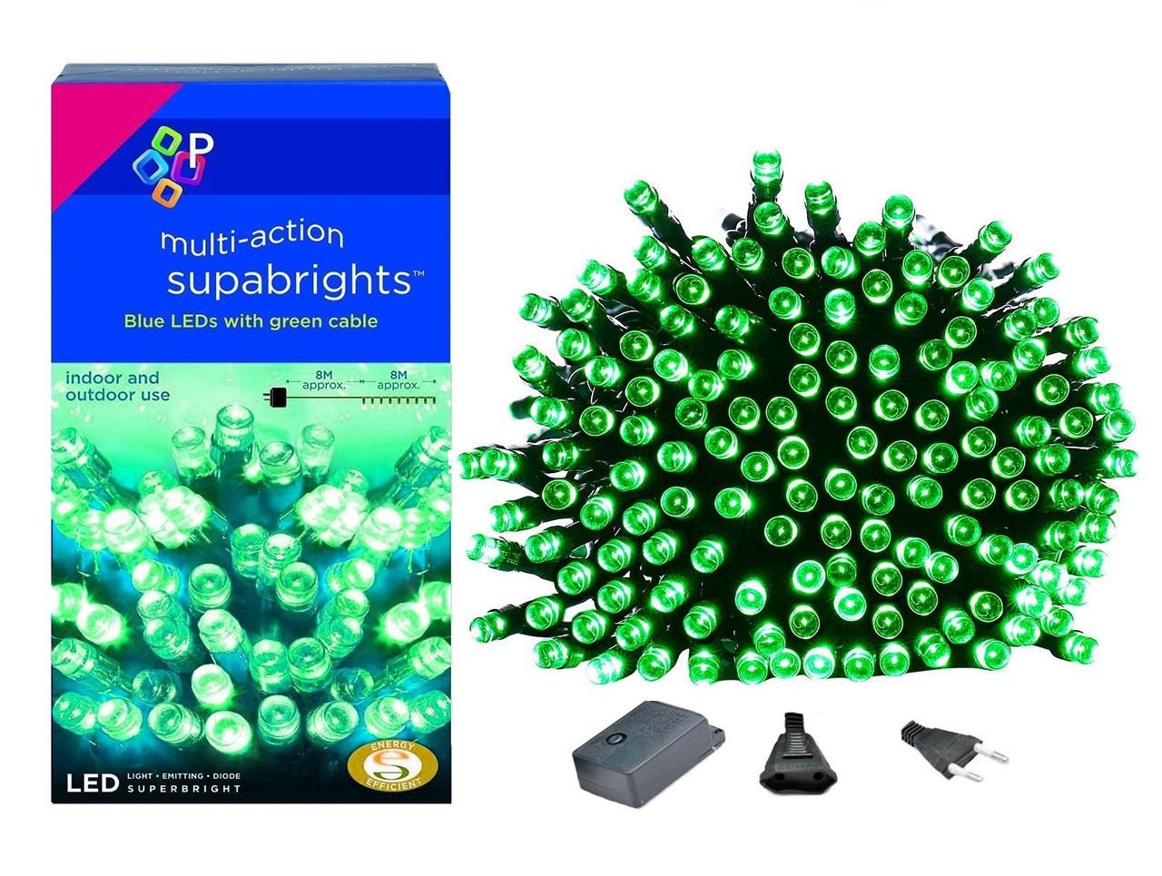 Новогодняя гирлянда 100 LED,Зеленый , Длина 8 Метров