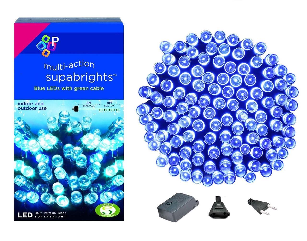 Новогодняя гирлянда 200 LED, Длина 16m, Голубой свет