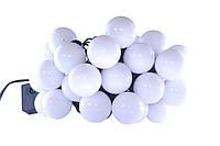 Новогодняя гирлянда 20 LED, белый холодный свет