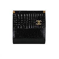 Маленький женский кожаный кошелек Chanel  9026 черный лаковый, расцветки в наличии