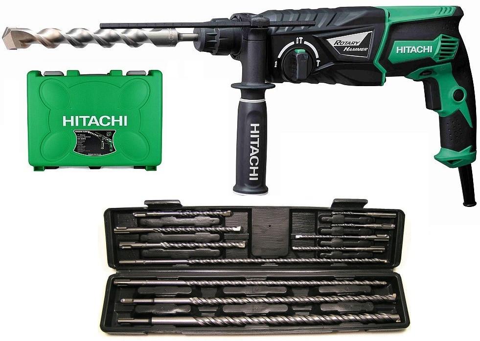 Ударная дрель HITACHI DH26PC + набор из 11 сверл SDS-Plus для бетона