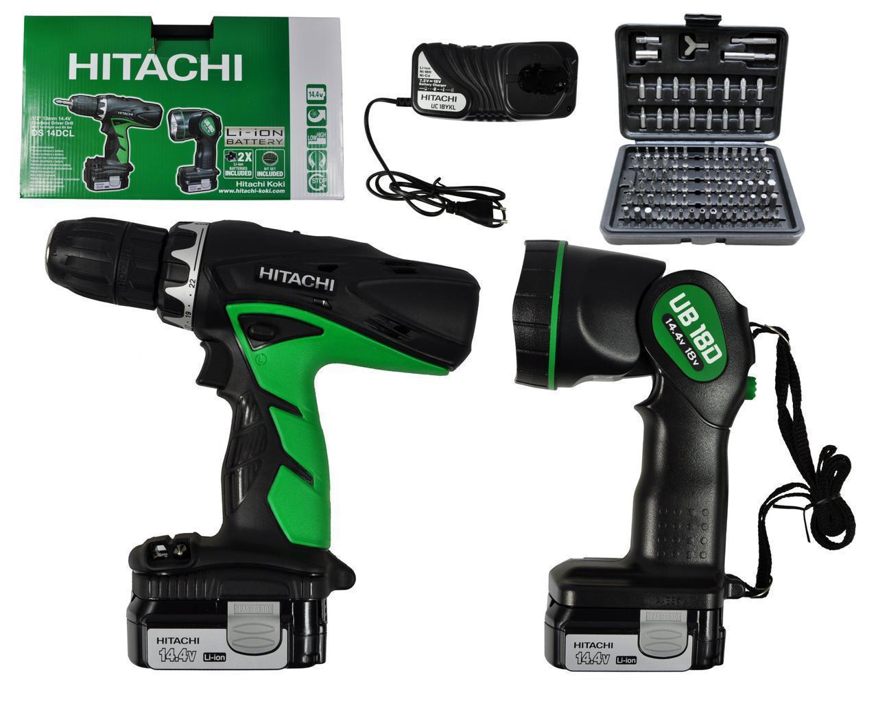 Дрель-шуруповерт HITACHI DS14DCL + фонарь + набор бит 100 шт