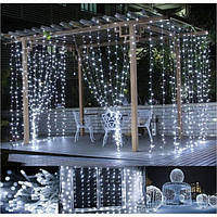 Гирлянда штора 3x3 м 300 LED белый холодный, фото 1