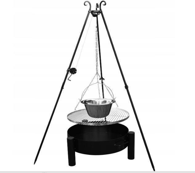 Садовый гриль INOX 70 см + казанок