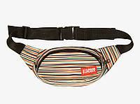 Сумка на пояс мужская UP Stripes коричневая (сумка банан, бананка сумка, поясная сумка), фото 1