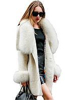 Прекрасное роскошное пальто из шерсти овец и лисы 40, L