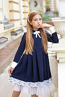 Школьное платье для девочки с воротничком софия (синий) 128-134 см Tiny look