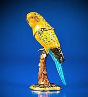 Шкатулка в виде волнистого Попугайчика со стразами и цветной эмалью