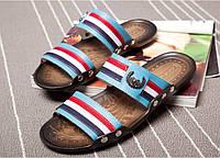 Кожаные мужские сандалии шлепки  3 цвета