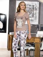 Женский домашний комплект с брюками, пижама женская
