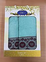 Набор полотенец Хлопок 1+1 (бирюзовый), Турция 1017800548