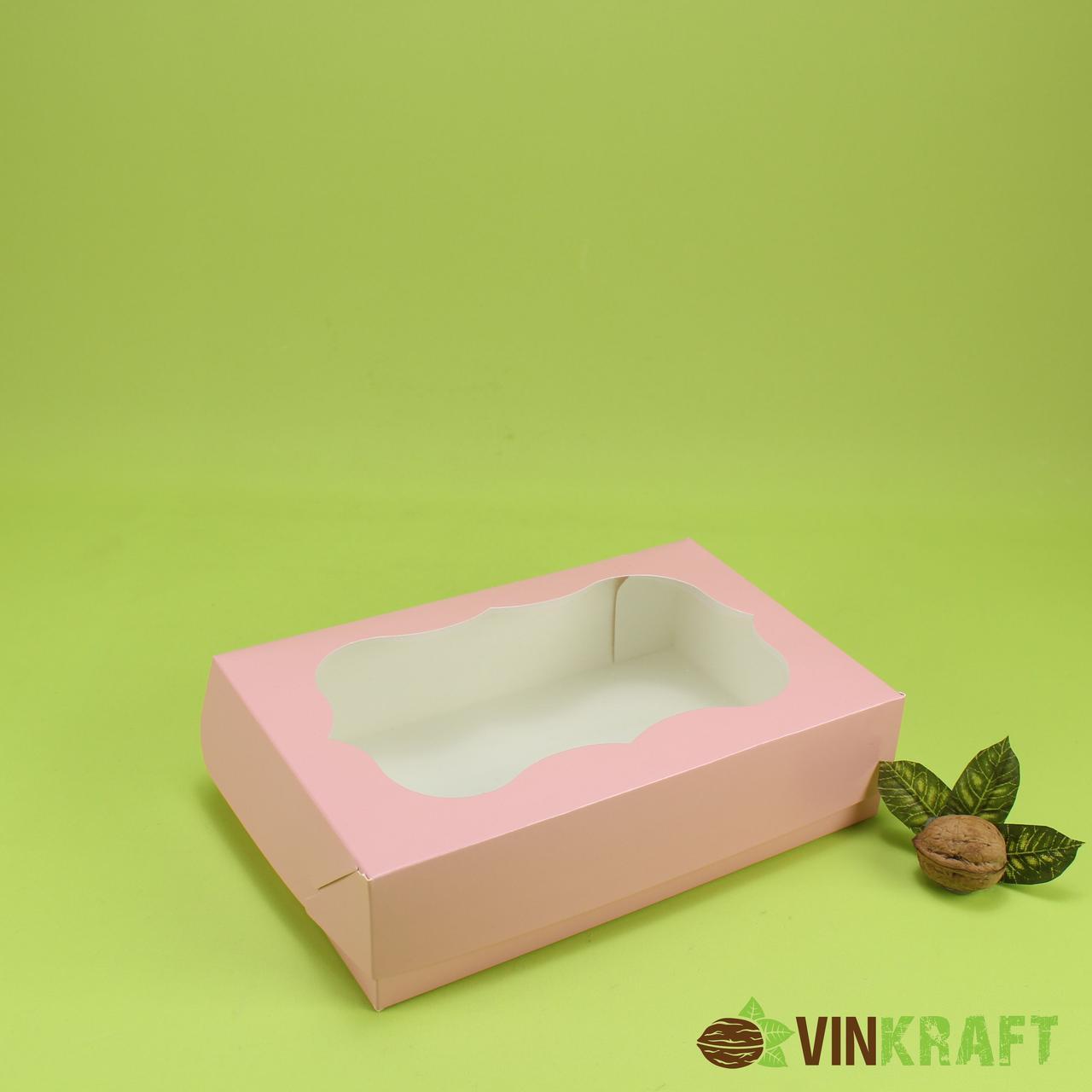 Коробка 250*170*60 для еклерів з вікном, пудра