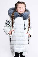 Детская зимняя удлиненная куртка для девочек (лайм) 32 X-WOYZ