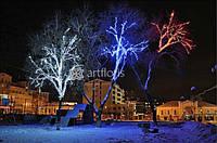 Подсветка деревьев, елки, световое оформление зданий, новогоднее оформление фасадов