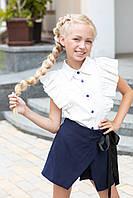 Детская школьная рубашка с коротким рукавом крылышки 116-122 см Tiny look