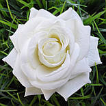 Головка розы раскрытая бархатная белая.10см, фото 2