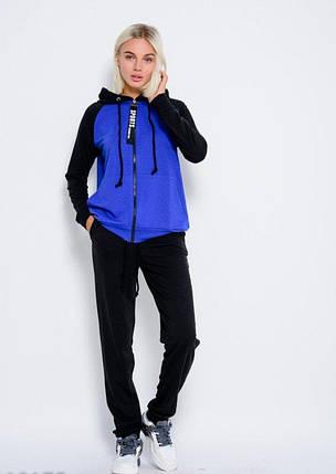 Трикотажный спортивный костюм с карманом-кенгуру и капюшоном на кофте черно синий, фото 2