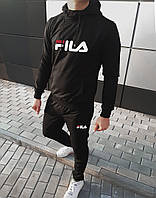 Молодежный мужской спортивный костюм черный с большим лого Fila (реплика)