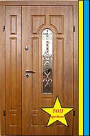Двери входные с стеклопакетом и ковкой полуторная 1200на2050мм