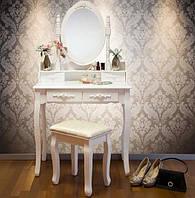Туалетный стол Mirka наклонное зеркало + табурет
