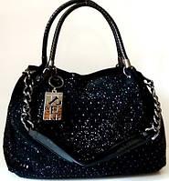 Привлекательная женская сумка из натуральной кожи с украшением страз