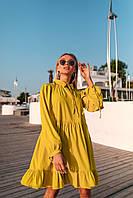 Платье стильное свободного покроя с оборкой по низу  в расцветках