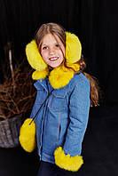 Детская утепленная джинсовая куртка с мехом кролика дженис (желтый) 98-104 см Mililook