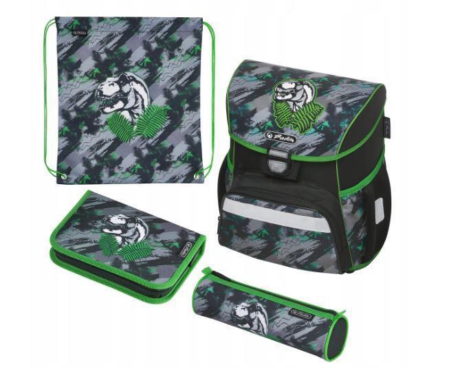 Школьный рюкзак для мальчиков Herlitz LOOP PLUS DINO JUNGLE + 2 пенала + сумка для спортивной обуви