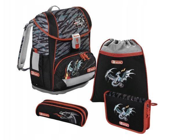 Школьный рюкзак для мальчиков HAMA Step By Step FIRE DRAGON + 2 пенала + сумка для спортивной обуви