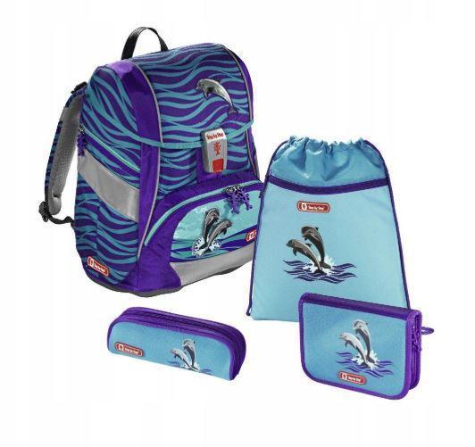 Школьный рюкзак для мальчиков HAMA Step By Step Happy Dolphins + 2 пенала + сумка для спортивной обуви