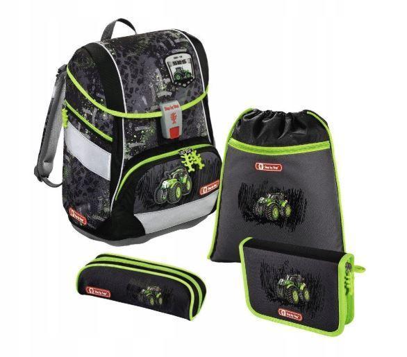 Школьный рюкзак для мальчиков HAMA Step By Step Green Tractor + 2 пенала + сумка для спортивной обуви