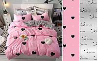 Сатиновое постельное бельё (12435) двуспальное евро 200*220 хлопок, фото 1