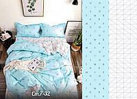 Сатиновое постельное бельё (12436) двуспальное евро 200*220 хлопок, фото 1