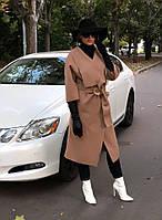 Пальто женское осеннее стильное на запах с поясом в расцветках