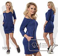 Сукня жіноча на одне плече з бретеллю - Синій, фото 1