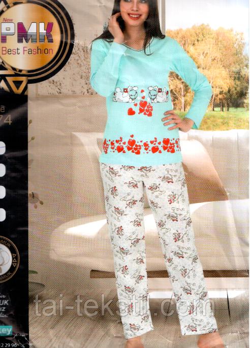 Пижама женская с брюками хлопок Night Angel № 4074