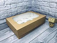 Коробка для 12-ти кексов / 340х250х90 мм / Крафт / окно-обычн, фото 1