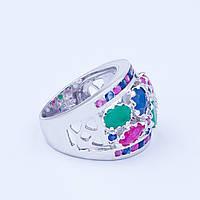 Кольцо серебряное с сапфиром изумрудом и рубином