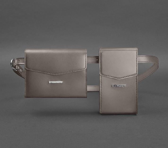 Набор сумка-клатч на пояс, через плечо женская кожаная, мокко 2 шт