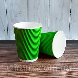 Стакан паперовий RIPPLE  300 мл 20шт/уп зелений (25уп/ящ) (кр-80)