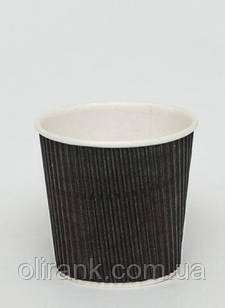 Стакан паперовий RIPPLE  110 мл чорний 20шт/уп (42уп/ящ)