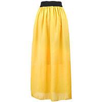 Шифоновая юбка макси. Желтая