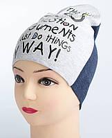 Модная шапка для девочки с блестящим принтом меланжевая