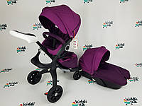 Универсальная Коляска 2 в 1 DsLand V6 Фиолетовая, Фиолетовый на черной раме аналог stokke